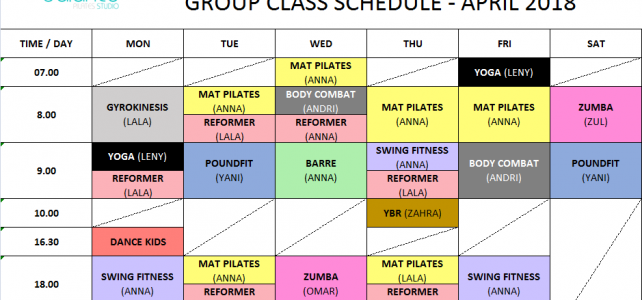 Group Class Schedule – April 2018