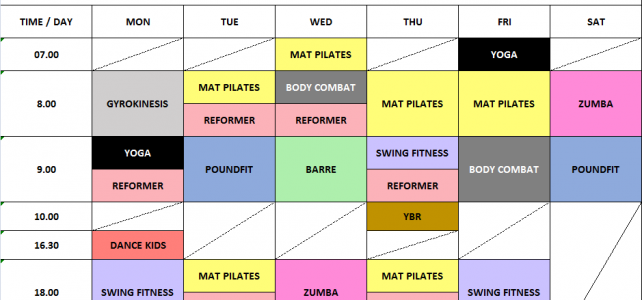 Group Class Schedule – March 2018